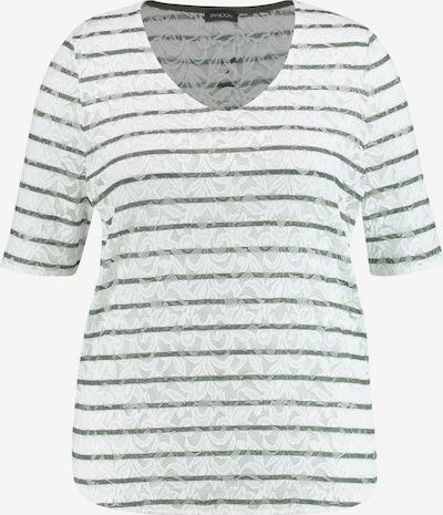 SAMOON T-Shirt Kurzarm Rundhals Spitzenshirt mit Streifen-Dessin in grün / offwhite, Produktansicht