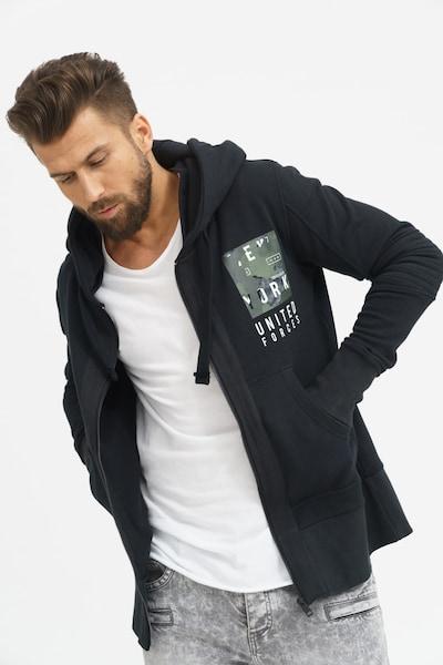trueprodigy Sweatjacken 'United Forces' in khaki / oliv / schwarz / weiß, Produktansicht