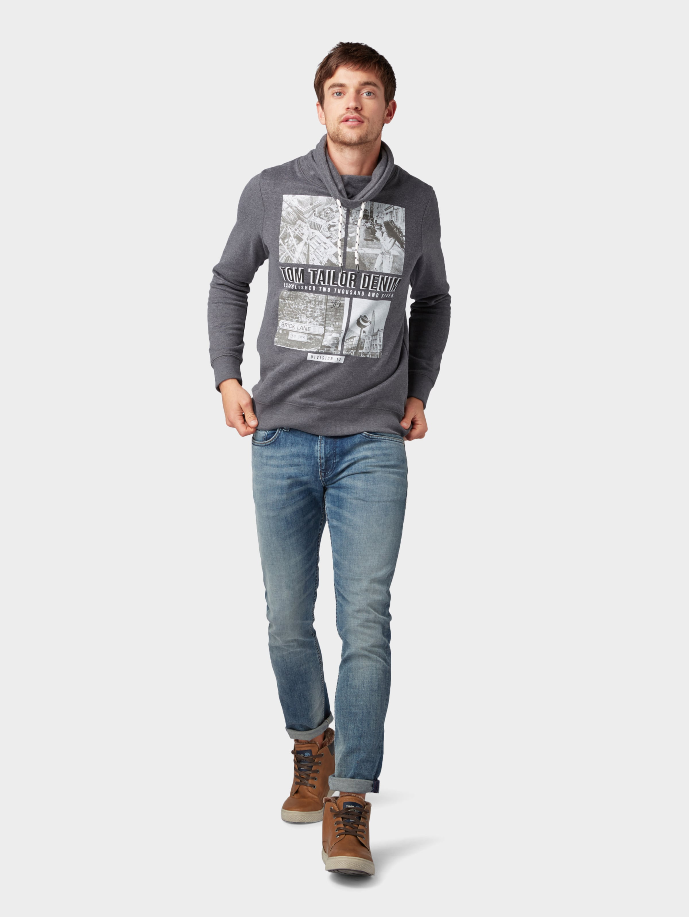 Sweatshirt In Denim GraphitSchwarz Tailor Tom Weiß UqpGMzVS