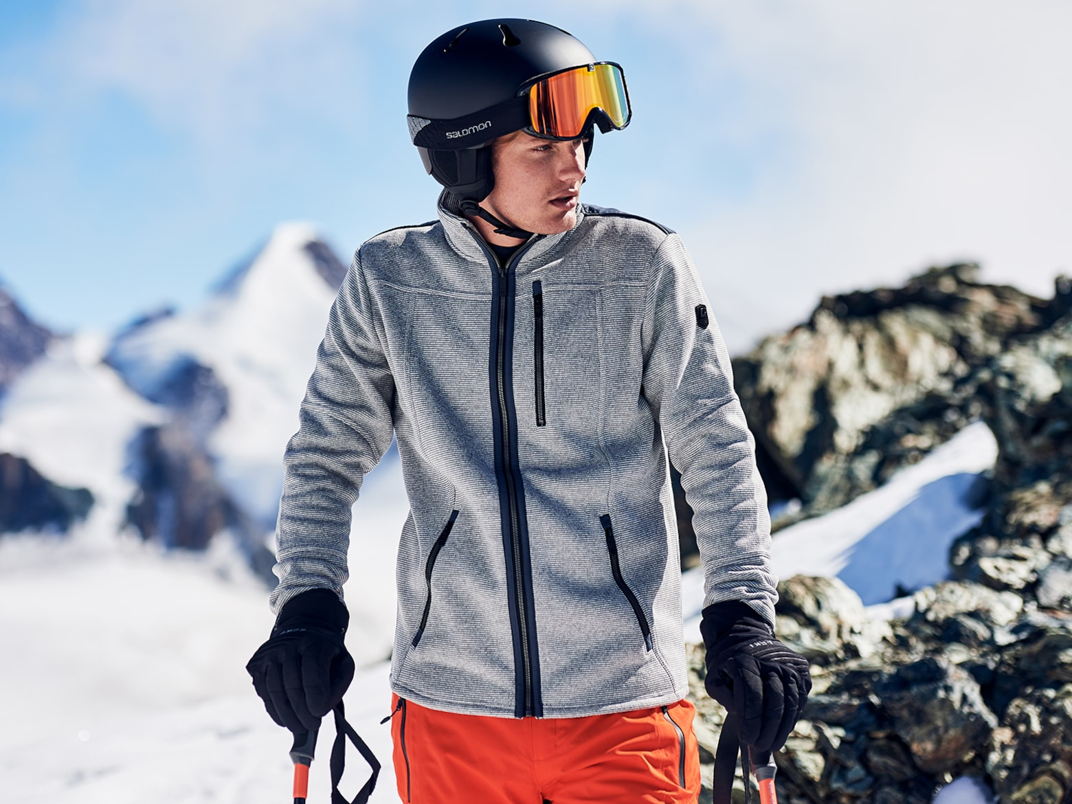 Luca - Grey and Orange Ski Look