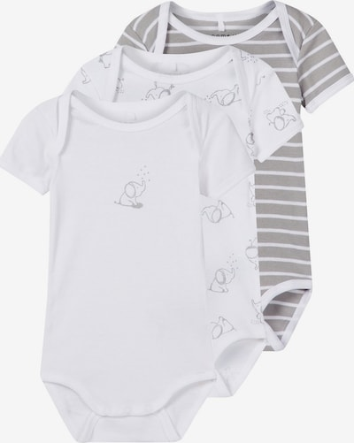 NAME IT Body 'NBNBODY 3P SS ALLOY NOOS' in grau / weiß: Frontalansicht