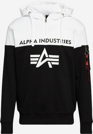 ALPHA INDUSTRIES Sweater majica u crna / bijela, Pregled proizvoda