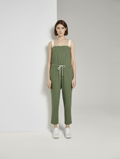 TOM TAILOR DENIM Jumpsuit in grasgrün / weiß, Modelansicht