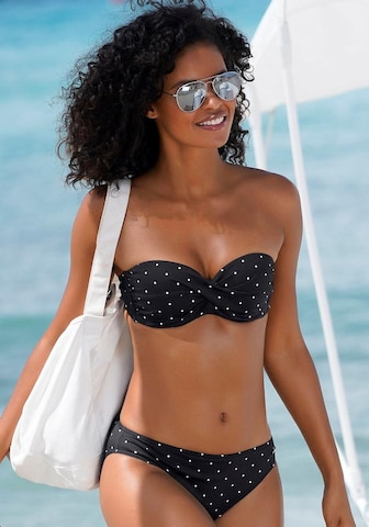 LASCANA Bikinitopp 'Sparkel' i svart