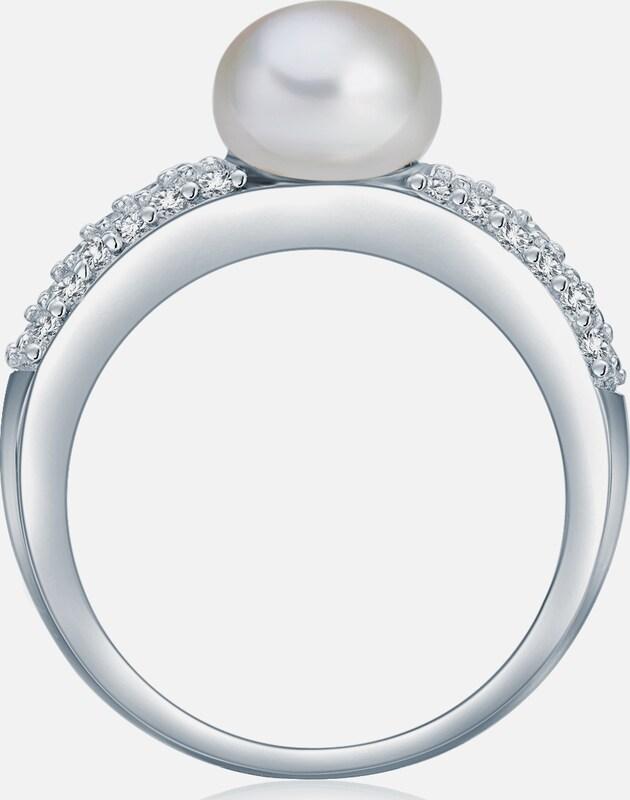 Valero Pearls Silberring mit Süßwasser-Zuchtperle und Zirkonia