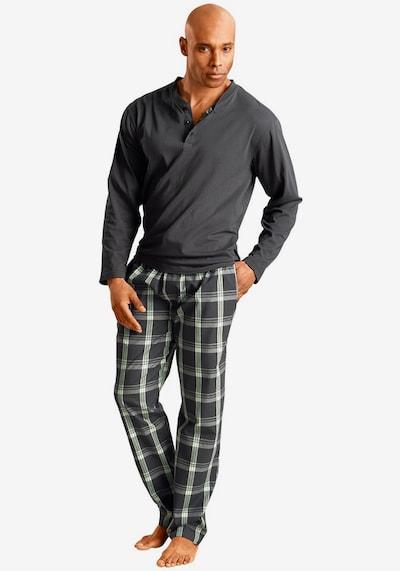 HIS JEANS Pyjama in grau / grün, Produktansicht