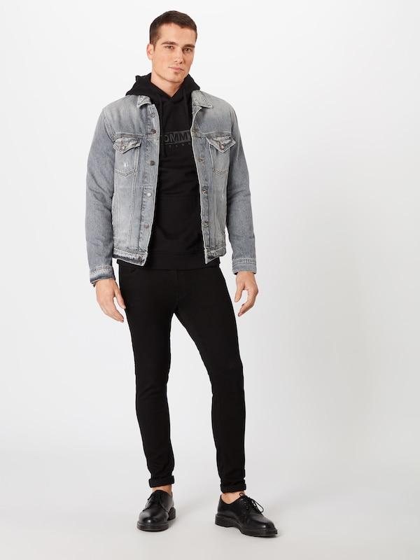 shirt Embroidered Jeans Fleece BasalteNoir Sweat Tommy En Gris Hoodie' 'tjm TlF5u13KJc