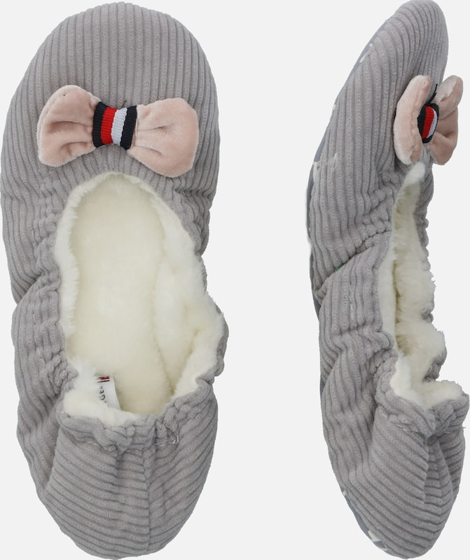 TOMMY HILFIGER Slipper 'TOMMY ROUND TRAVEL PACK' in grau: Seitenansicht