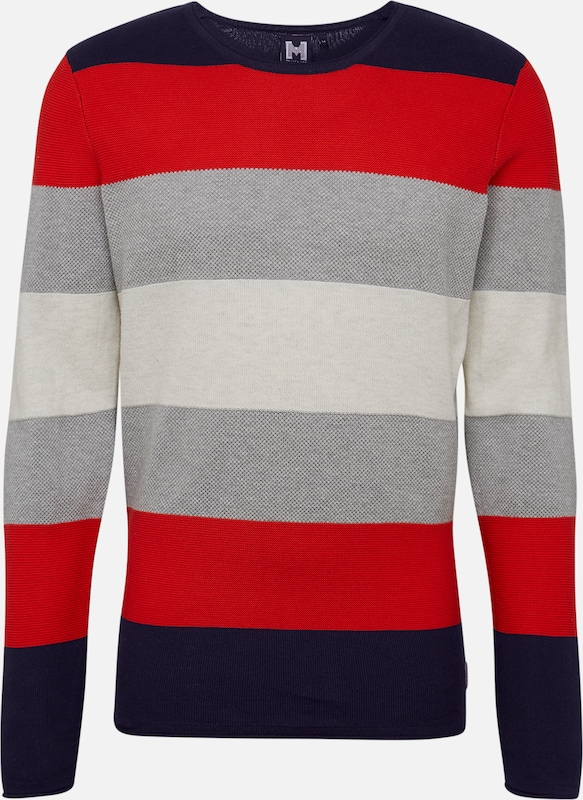 Hailys Men Pullover 'Sweater Finn' in navy / rot: Frontalansicht