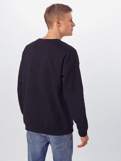 Urban Classics Sweatshirt 'Mid Logo Oversized Crew' in de kleur Zwart / Wit: Achteraanzicht