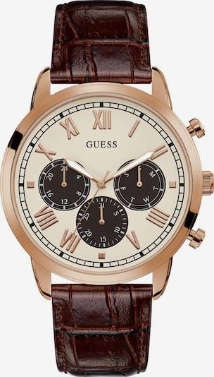 GUESS Analogové hodinky 'HENDRIX' - hnědá / růžově zlatá / bílá, Produkt