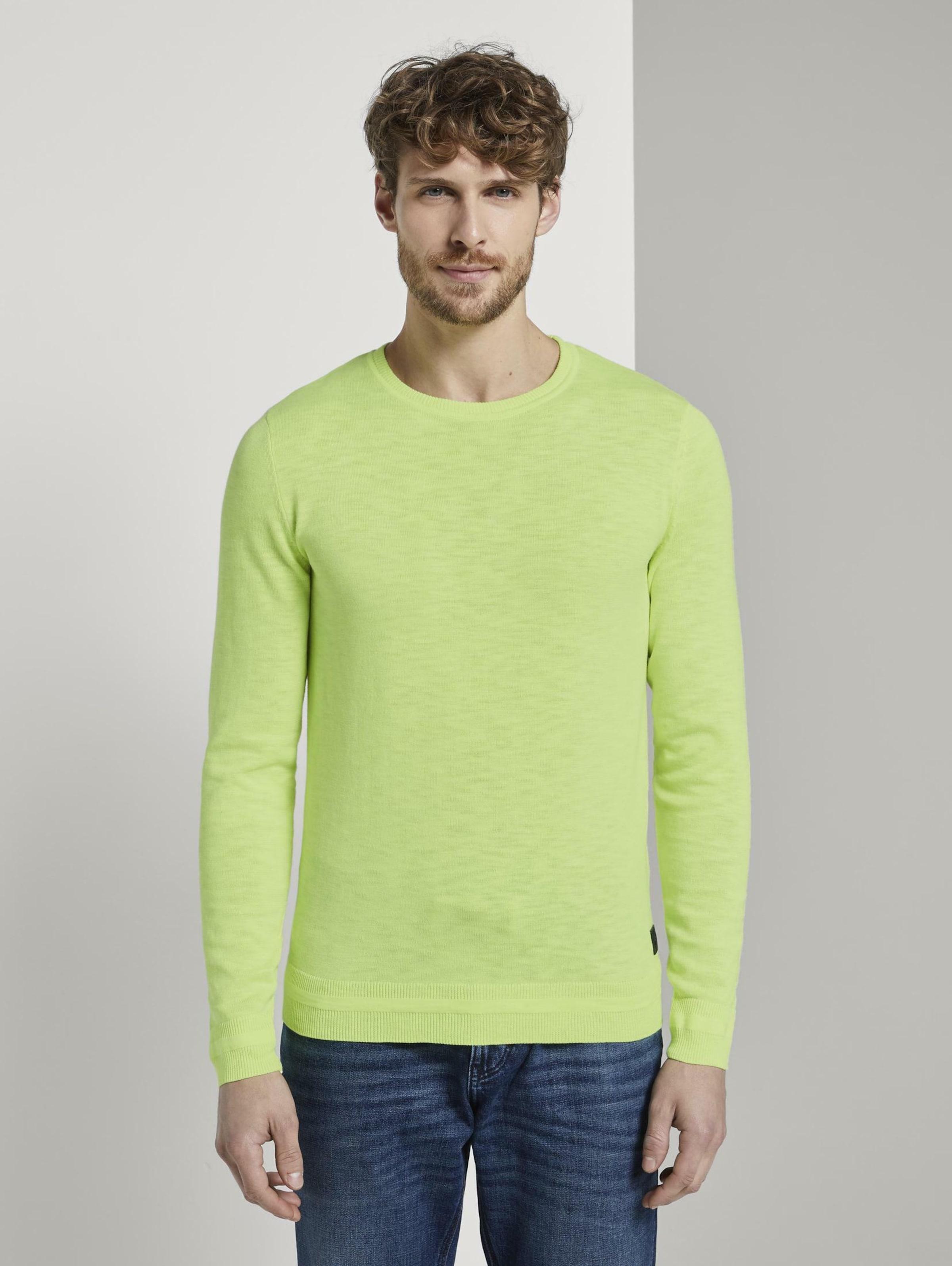 TOM TAILOR Pullover & Strickjacken Strick-Sweater in neongrün Baumwolle 1016526001