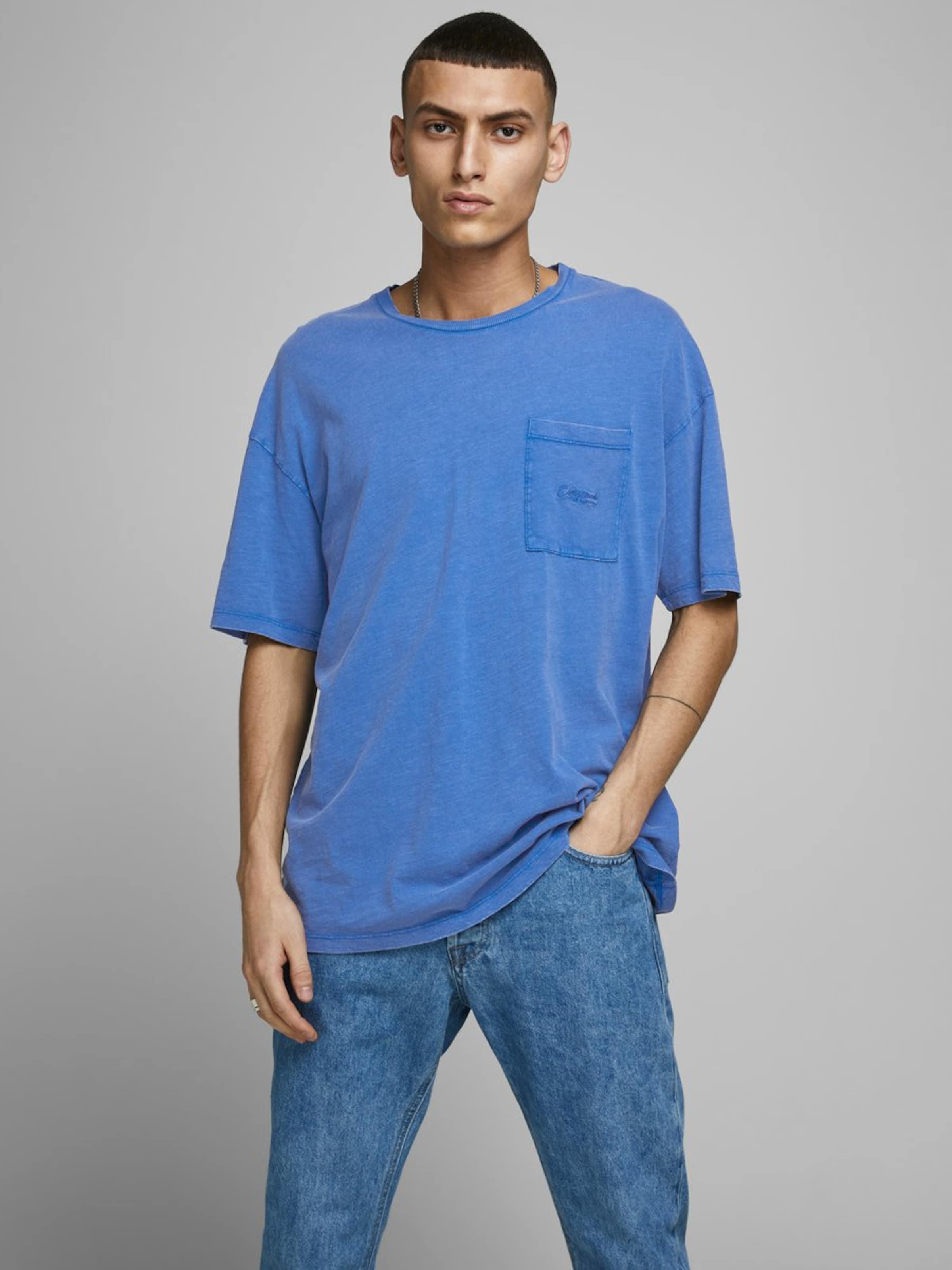 JACK & JONES Rundhalsausschnitt T-Shirt in blau Runder Saum 5714515941684