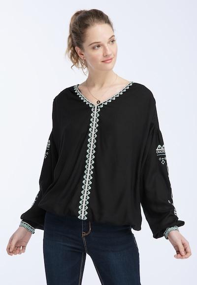 DREIMASTER Bluse in opal / schwarz / weiß, Modelansicht