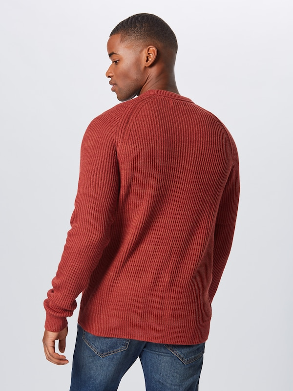JACK & JONES Pullover 'JORPANNEL KNIT CREW NECK.' in rostrot: Rückansicht