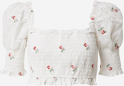 Missguided Chemisier 'Broderie Floral Shirred Crop Top' en blanc, Vue avec produit