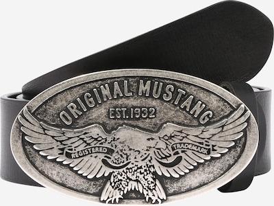 MUSTANG Ledergürtel in schwarz / silber, Produktansicht