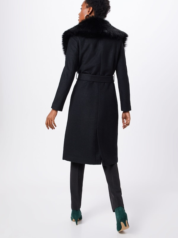 ONLY Mantel 'onlJOLIE LONG FUR WOOL COAT OTW' in schwarz: Rückansicht
