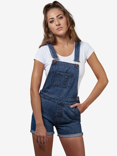 Urban Classics Dungaree jeans 'Dungaree' in Blue denim, View model