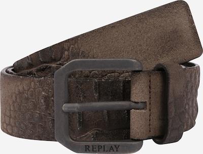 REPLAY Ceinture 'Leather Belt' en marron / vert, Vue avec produit