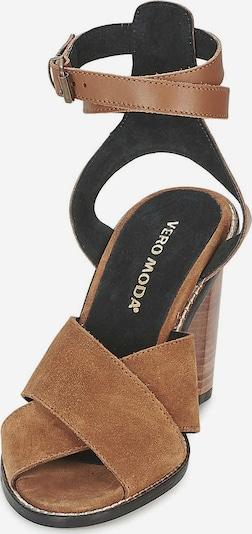 VERO MODA Sandalen/Sandaletten in cognac / schwarz: Frontalansicht