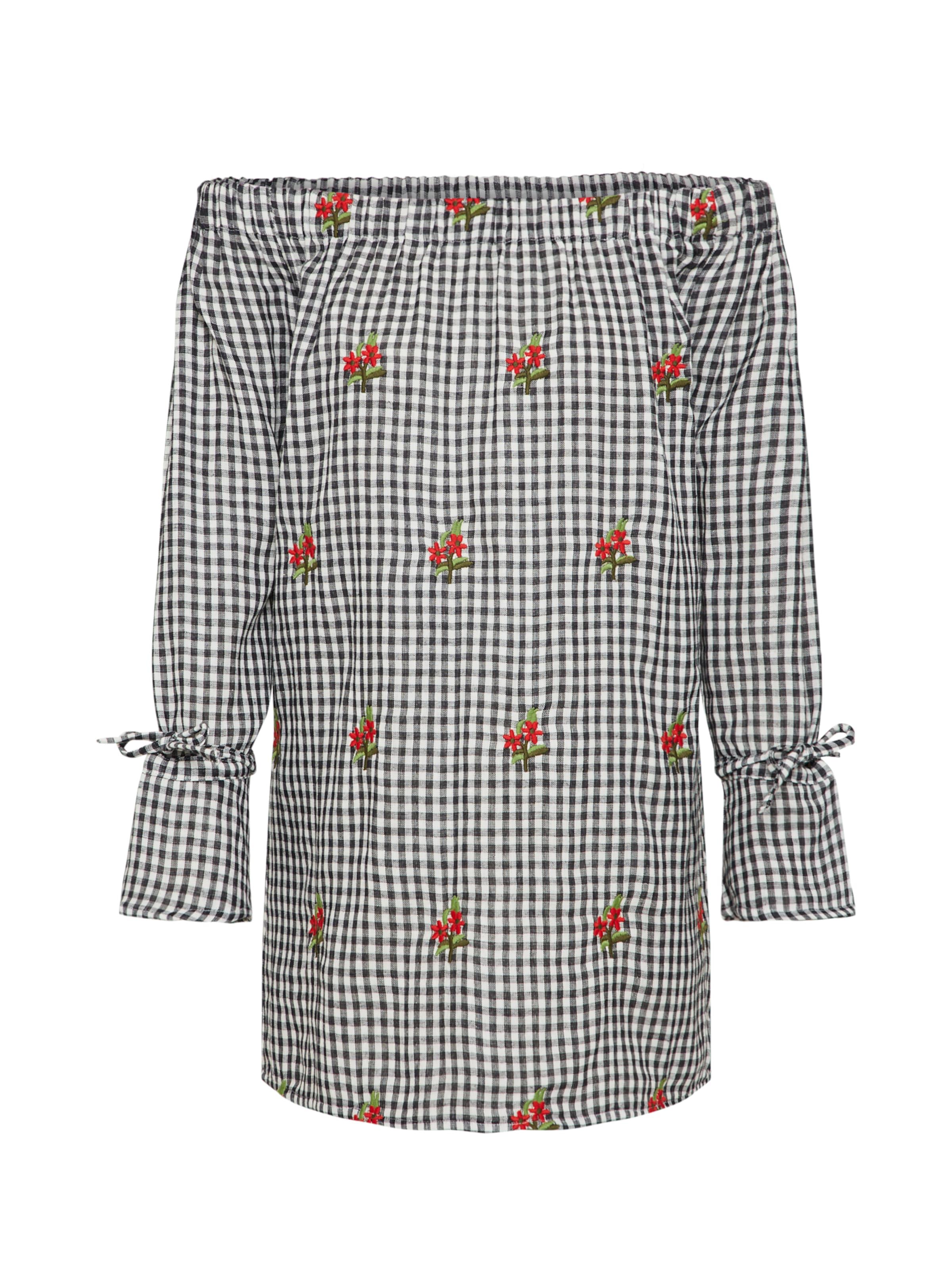 Boohoo SchwarzWeiß 'rita Embroidered Shift' Gingham In Kleid qVSpzMU