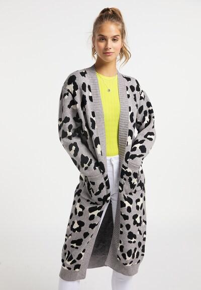 MYMO Gebreide mantel in de kleur Grijs / Zwart / Wit, Modelweergave