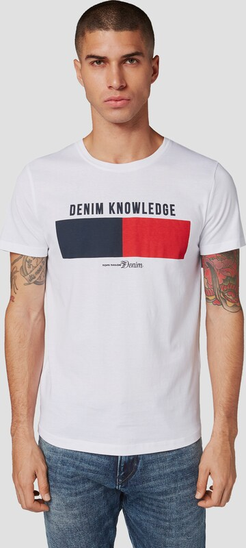 TOM TAILOR DENIM T-Shirt mit Print in weiß: Frontalansicht