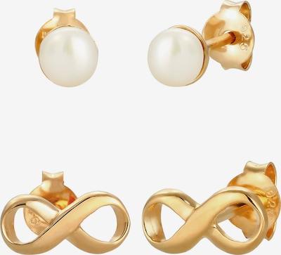ELLI Ohrringe Infinity, Perle, Perlenohrstecker in gold / perlweiß: Frontalansicht