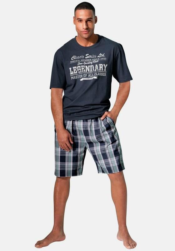 H.I.S Pyjama, kurz mit Karo-Webhose