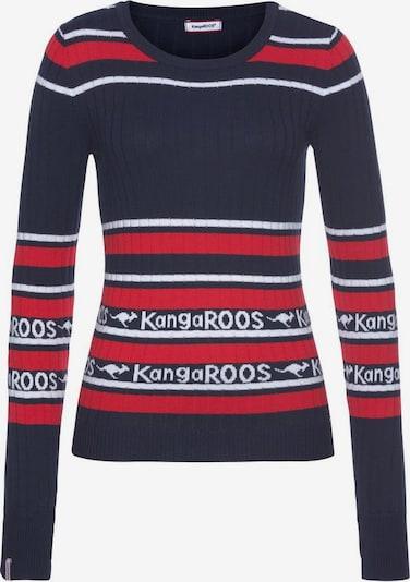 KangaROOS Rundhalspullover in navy / rot / weiß, Produktansicht