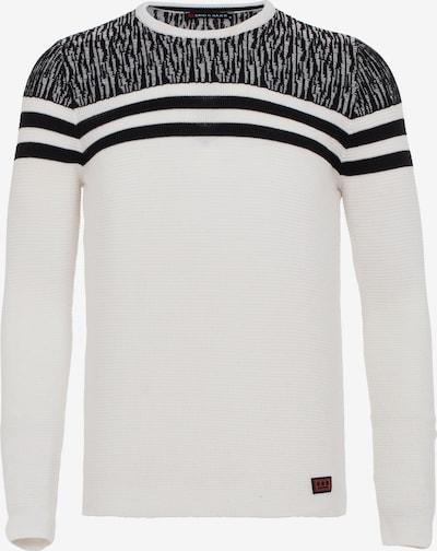 CIPO & BAXX Pullover mit coolen Streifen-Details in creme / schwarz, Produktansicht