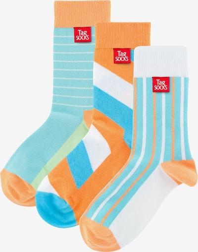 Tag SOCKS Sokken in de kleur Lichtblauw / Sinaasappel / Wit, Productweergave