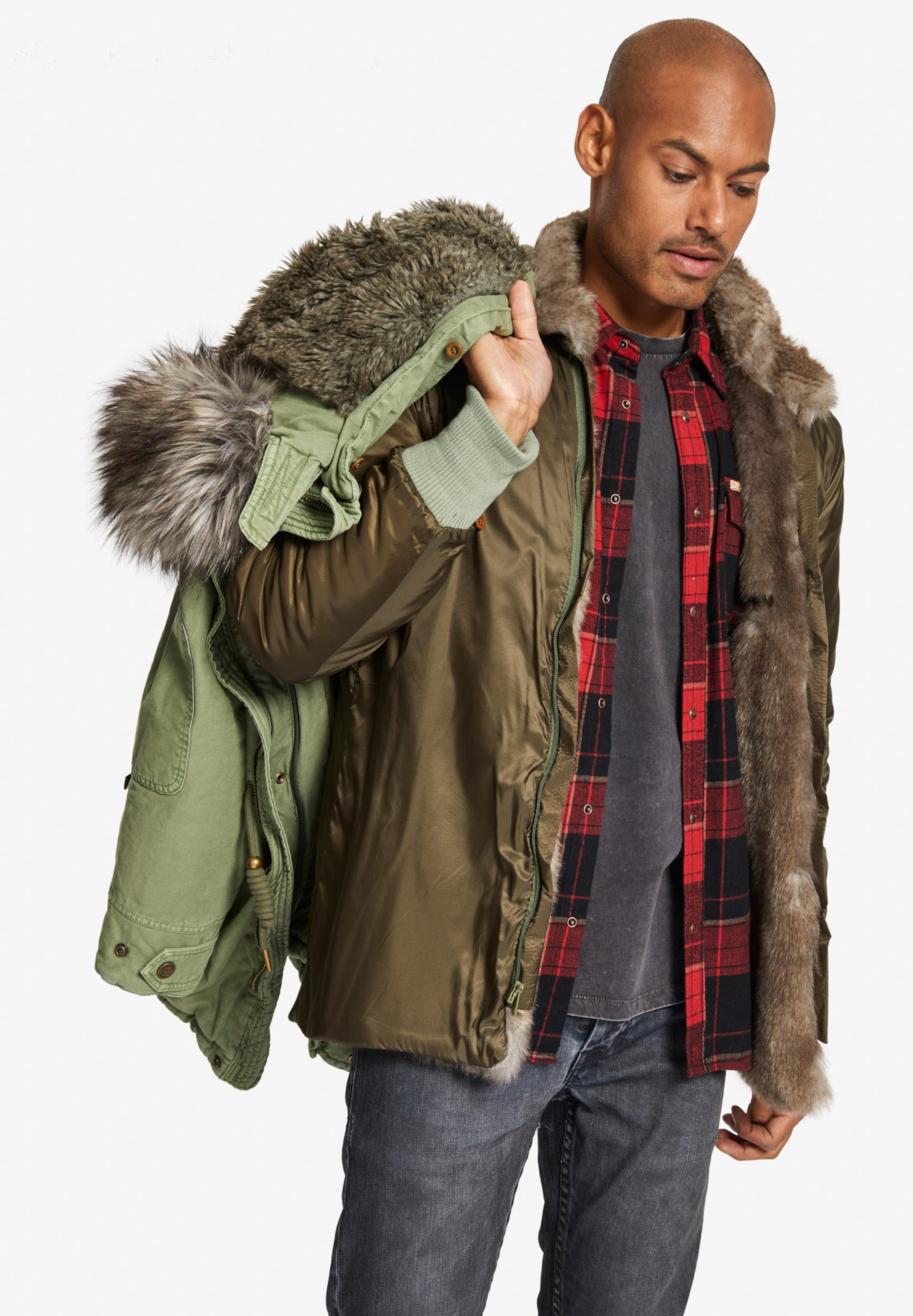 Khujo Fur En Olive Solid Parka With 'unkar Jacket' Inner D'hiver VzGSpMUq