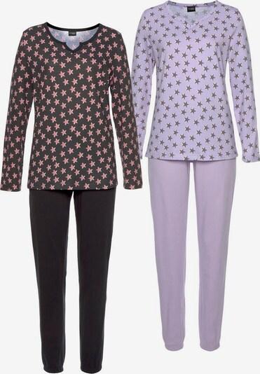 VIVANCE Pyjama in dunkelgrau / pastelllila / koralle / schwarz, Produktansicht