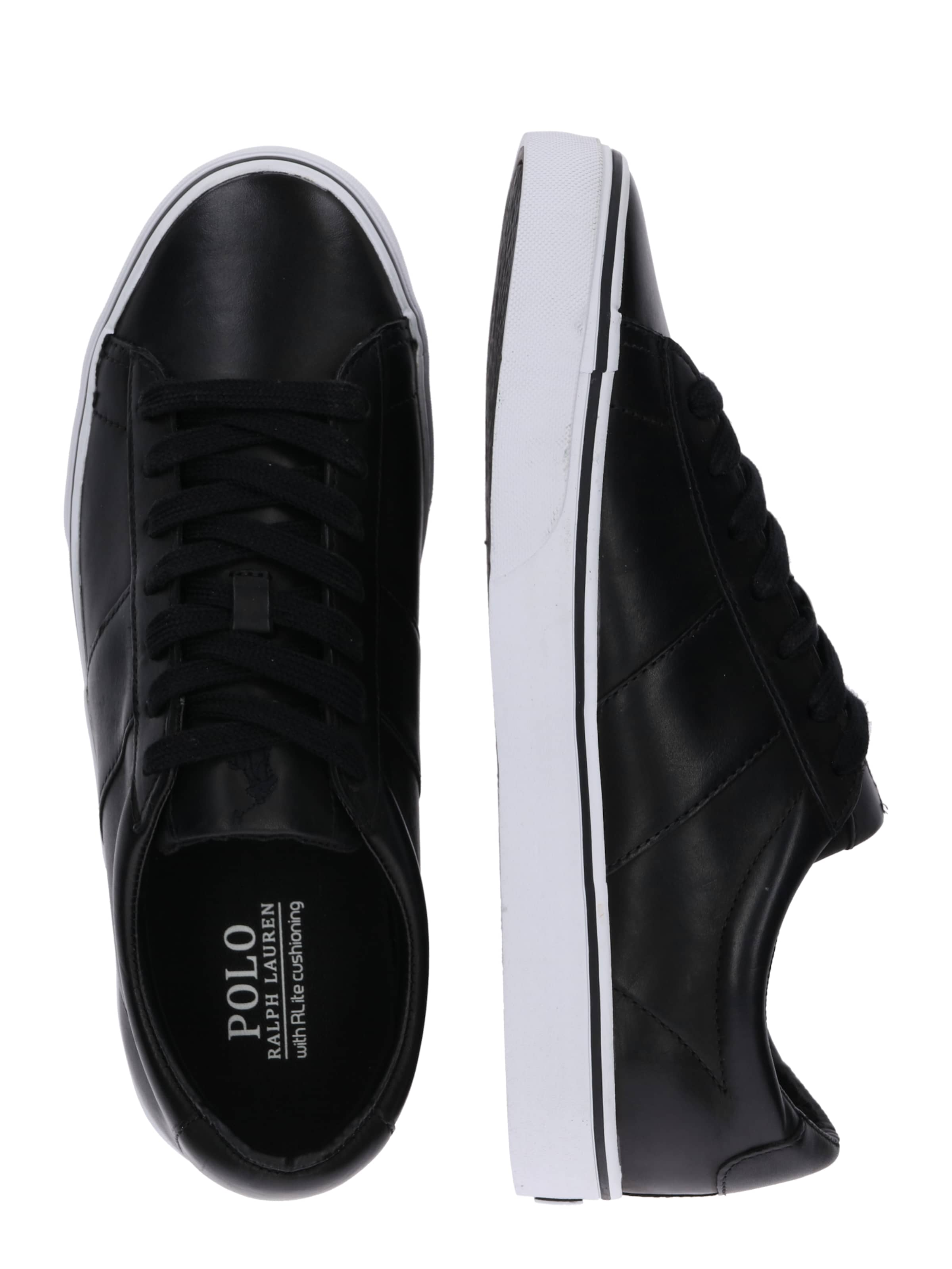 In Ralph Sneaker Schwarz Lauren 'sayer Polo Leather' gbf67yY