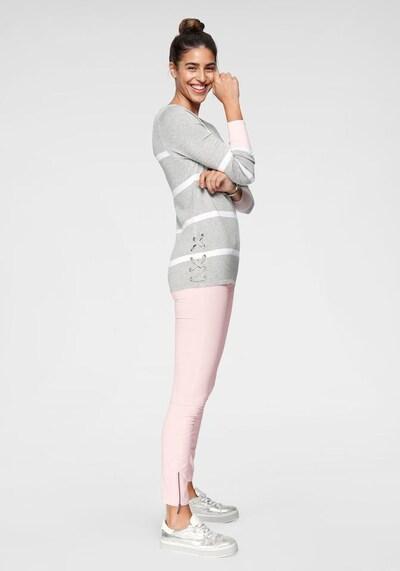 Tom Tailor Polo Team Pullover in graumeliert / rosa / weiß, Modelansicht
