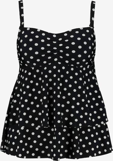 Ulla Popken Badpak 'Tupfen Volant' in de kleur Zwart / Wit, Productweergave
