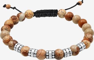 KUZZOI Armband 'Kugel' in de kleur Bruin / Lichtbruin / Zwart / Zilver, Productweergave