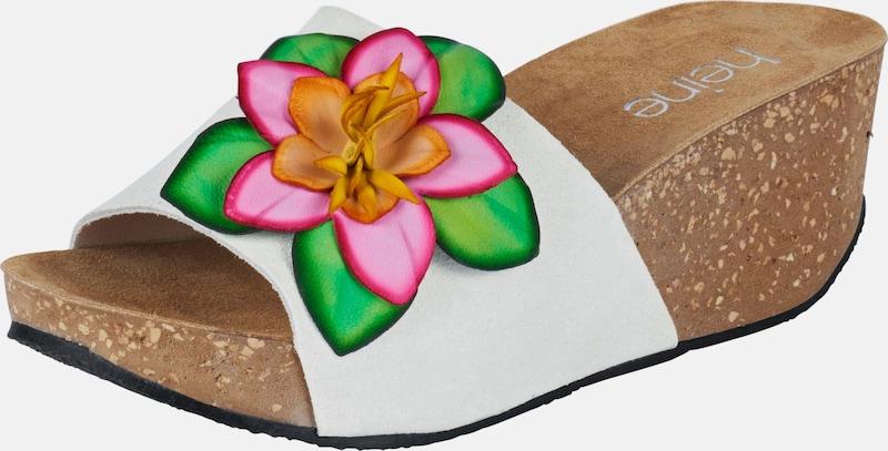 heine Pantolette mit Blütenapplikation
