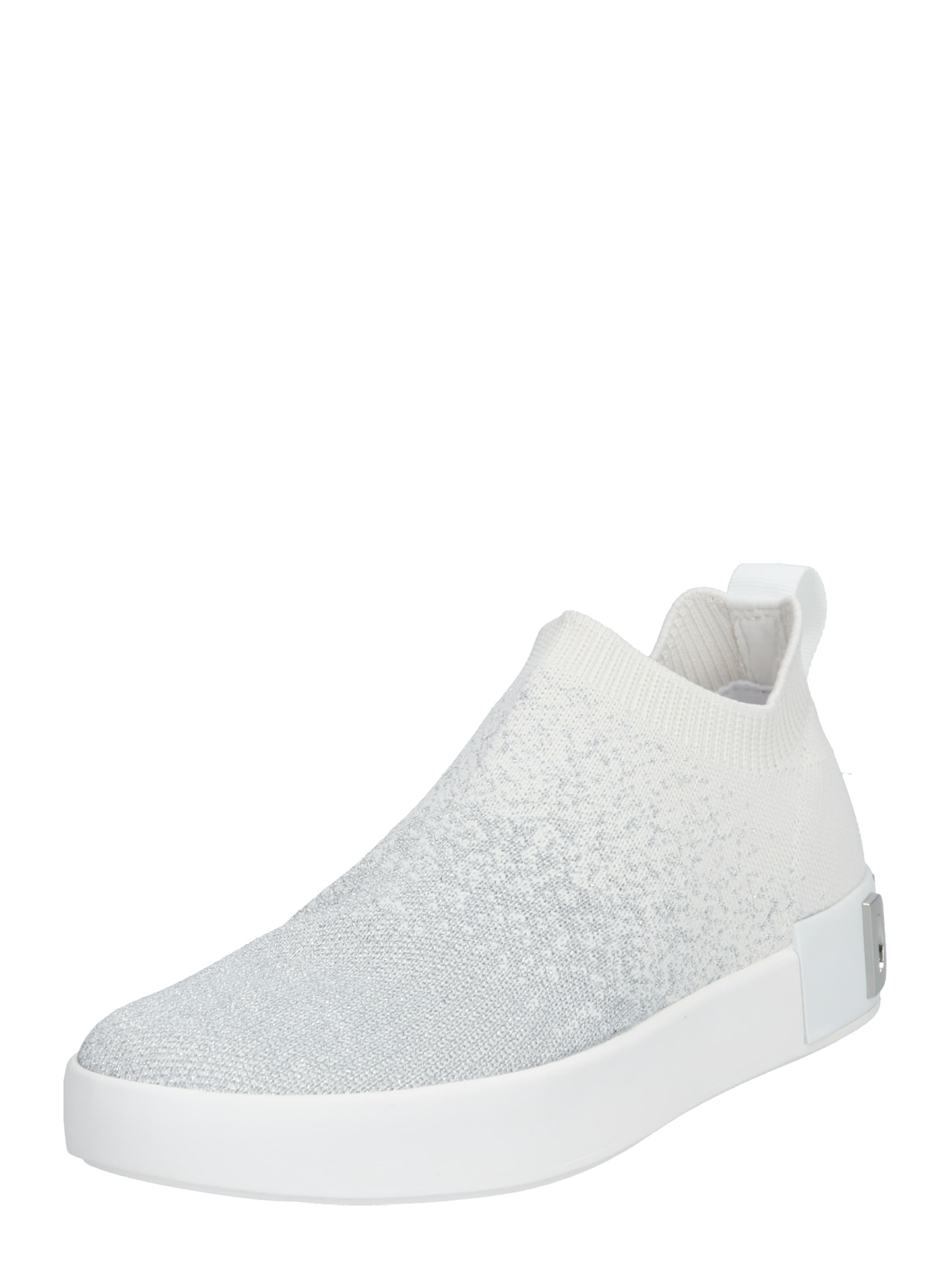 DKNY Låg sneaker 'SAYDA' i silvergrå / svart / vit