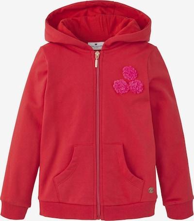 TOM TAILOR Strick & Sweatshirts Sweatjacke mit Blumen-Verzierung in rot, Produktansicht