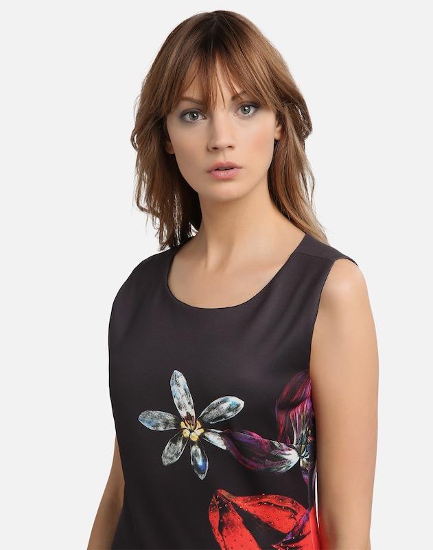 APART Jerseykleid mit Blumendruck und farbigen Strasssteinen