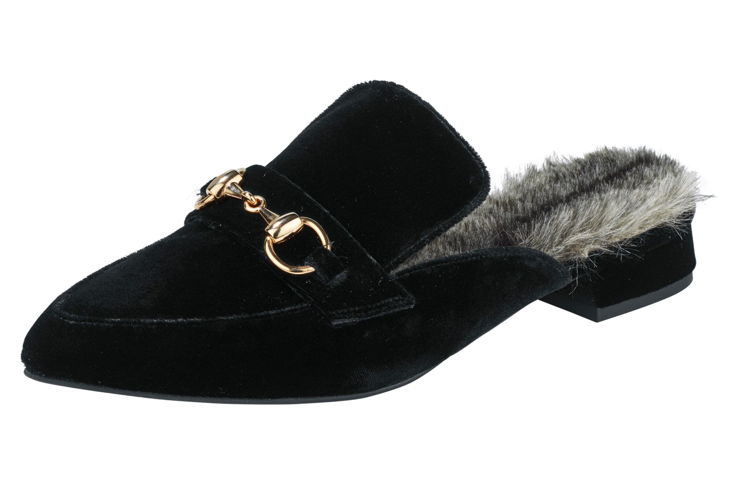 heine Pantolette mit Webfell Verschleißfeste billige Schuhe