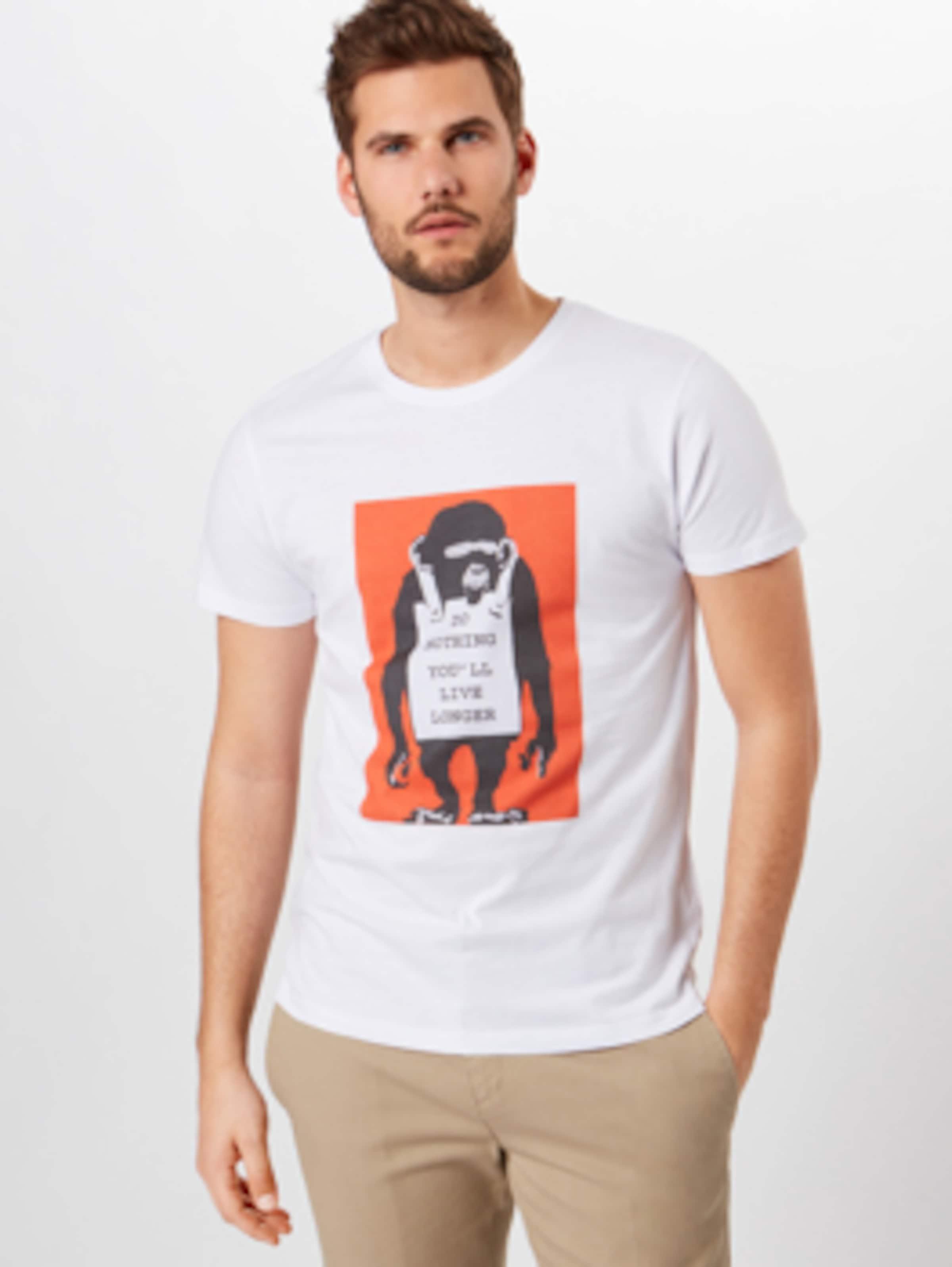 Mister shirt En Blanc OrangeNoir T Tee 2IE9DH