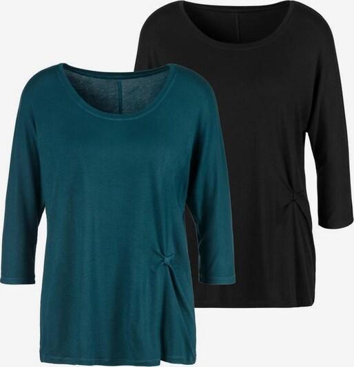 LASCANA Koszulka w kolorze szmaragdowy / czarnym ZluC15er