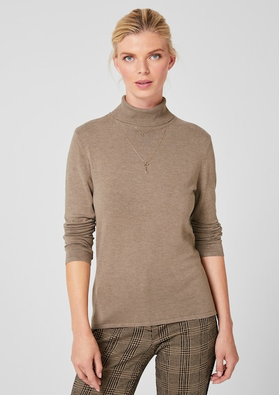 s.Oliver BLACK LABEL Pullover in hellbraun, Modelansicht