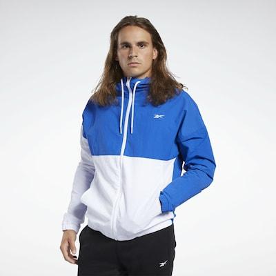 REEBOK Sportjas in de kleur Royal blue/koningsblauw / Wit: Vooraanzicht