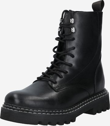 PS Poelman Lace-Up Ankle Boots 'Saturno' in Black