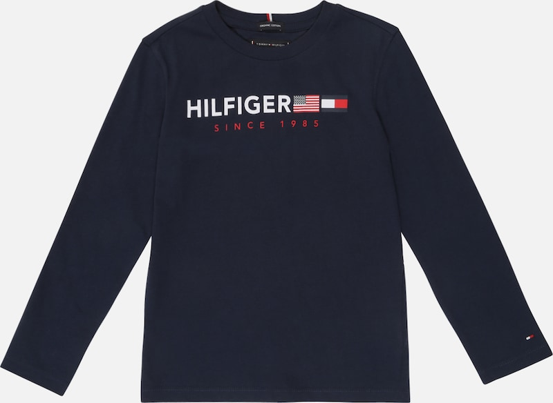 TOMMY HILFIGER Shirt 'Flags Graphic L/S' in dunkelblau / rot / weiß: Frontalansicht